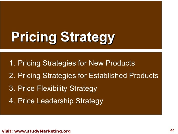 Pricing Strategy <ul><li>Pricing Strategies for New Products </li></ul><ul><li>Pricing Strategies for Established Products...