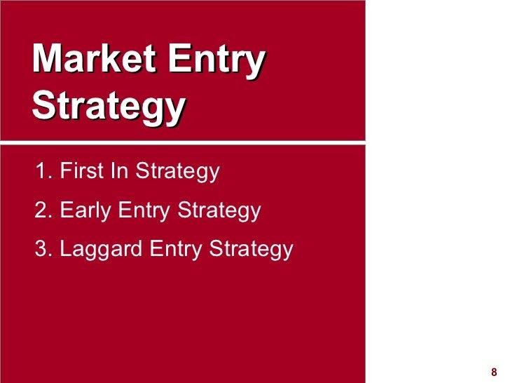 Market Entry Strategy <ul><li>First In Strategy </li></ul><ul><li>Early Entry Strategy </li></ul><ul><li>Laggard Entry Str...