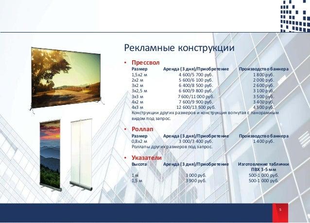 5 Рекламные конструкции џ Прессвол Размер Аренда (3 дня)/Приобретение Производство баннера 1,5х2 м 4 600/5 700 руб. 1 800 ...