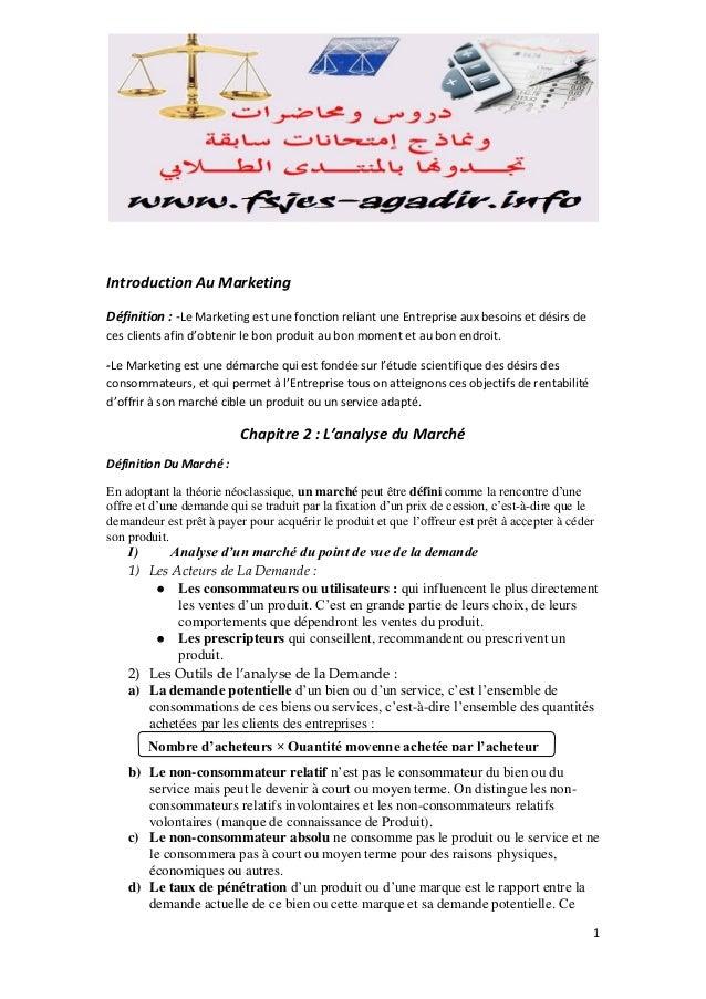 Introduction Au Marketing Définition : -Le Marketing est une fonction reliant une Entreprise aux besoins et désirs de ces ...