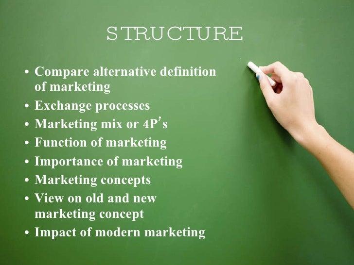 STRUCTURE <ul><li>Compare alternative definition  of marketing  </li></ul><ul><li>Exchange processes </li></ul><ul><li>Mar...