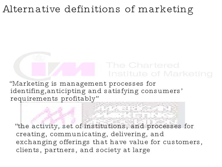 """<ul><li>"""" Marketing is management processes for identifing,anticipting and satisfying consumers' requirements profitably"""" ..."""