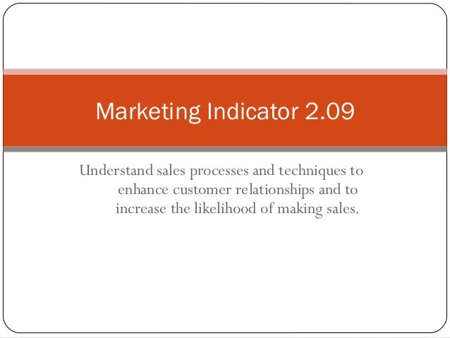 Marketing Indicator 2.09Understand sales processes and techniques to     enhance customer relationships and to    increase...