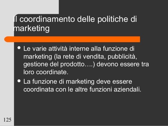 125 Il coordinamento delle politiche di marketing  Le varie attività interne alla funzione di marketing (la rete di vendi...
