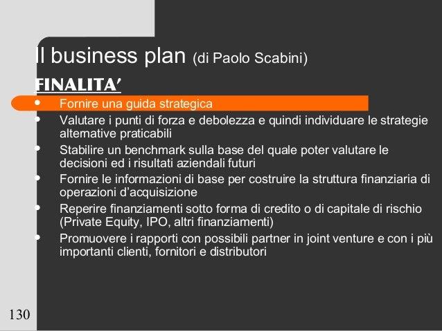 130 Il business plan (di Paolo Scabini) FINALITA'  Fornire una guida strategica  Valutare i punti di forza e debolezza e...
