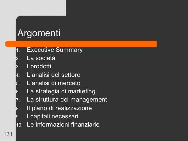 131 Argomenti 1. Executive Summary 2. La società 3. I prodotti 4. L'analisi del settore 5. L'analisi di mercato 6. La stra...