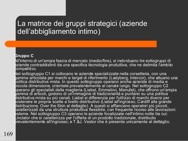 169 Gruppo C All'interno di un'ampia fascia di mercato (medio/fine), si individuano tre sottogruppi di aziende contraddist...