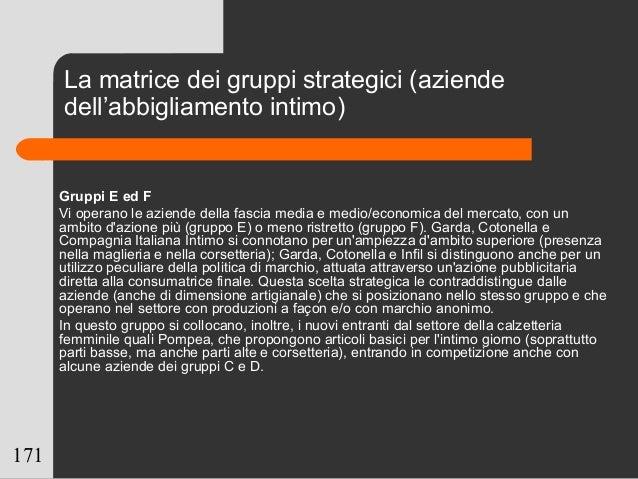 171 Gruppi E ed F Vi operano le aziende della fascia media e medio/economica del mercato, con un ambito d'azione più (grup...