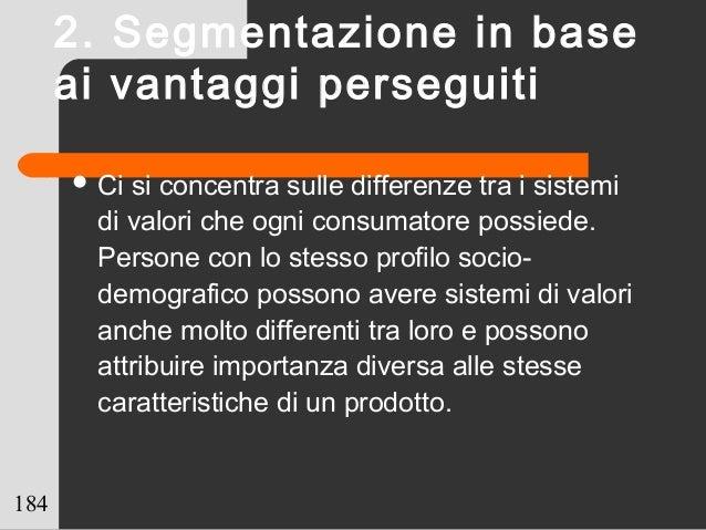 184  Ci si concentra sulle differenze tra i sistemi di valori che ogni consumatore possiede. Persone con lo stesso profil...