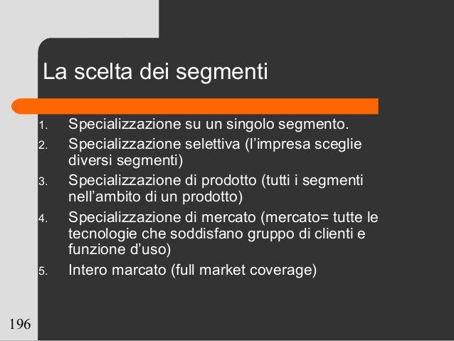 196 La scelta dei segmenti 1. Specializzazione su un singolo segmento. 2. Specializzazione selettiva (l'impresa sceglie di...