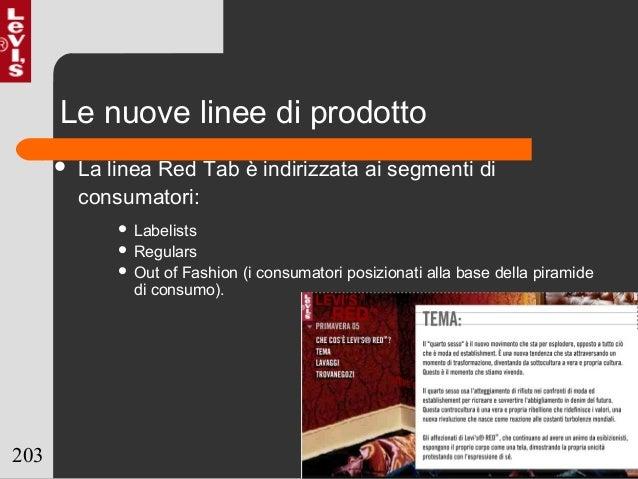 203 Le nuove linee di prodotto  La linea Red Tab è indirizzata ai segmenti di consumatori:  Labelists  Regulars  Out o...