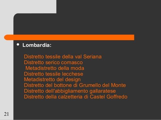 21  Lombardia: Distretto tessile della val Seriana Distretto serico comasco Metadistretto della moda Distretto tessile le...