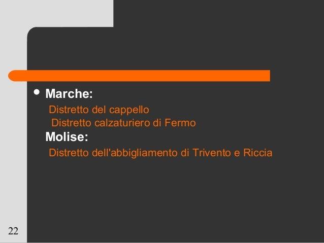 22  Marche: Distretto del cappello Distretto calzaturiero di Fermo Molise: Distretto dell'abbigliamento di Trivento e Ric...