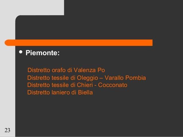 23  Piemonte: Distretto orafo di Valenza Po Distretto tessile di Oleggio – Varallo Pombia Distretto tessile di Chieri - C...