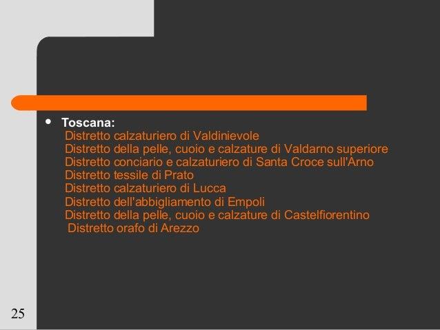 25  Toscana: Distretto calzaturiero di Valdinievole Distretto della pelle, cuoio e calzature di Valdarno superiore Distre...