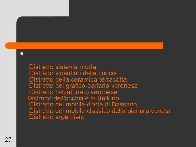27  Distretto sistema moda Distretto vicentino della concia Distretto della ceramica terracotta Distretto del grafico-car...