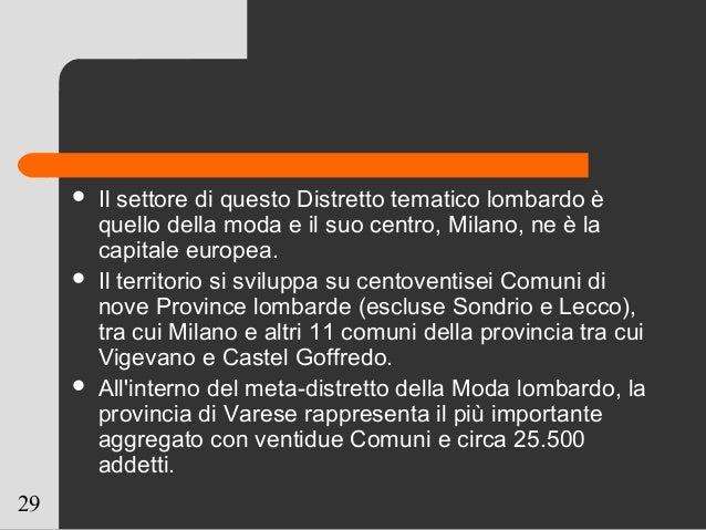 29  Il settore di questo Distretto tematico lombardo è quello della moda e il suo centro, Milano, ne è la capitale europe...
