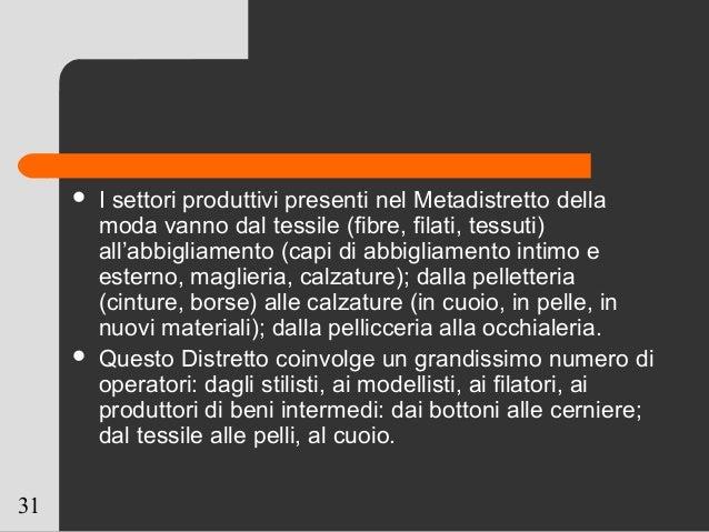 31  I settori produttivi presenti nel Metadistretto della moda vanno dal tessile (fibre, filati, tessuti) all'abbigliamen...
