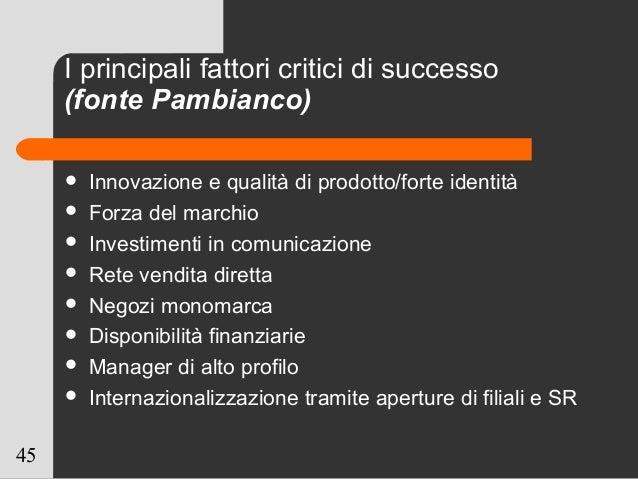 45 I principali fattori critici di successo (fonte Pambianco)  Innovazione e qualità di prodotto/forte identità  Forza d...
