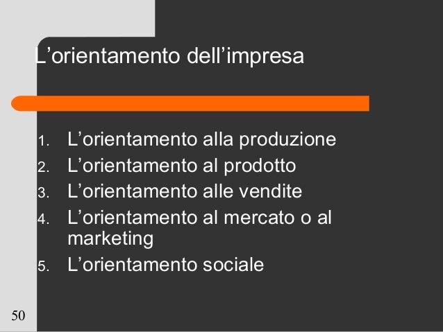 50 L'orientamento dell'impresa 1. L'orientamento alla produzione 2. L'orientamento al prodotto 3. L'orientamento alle vend...