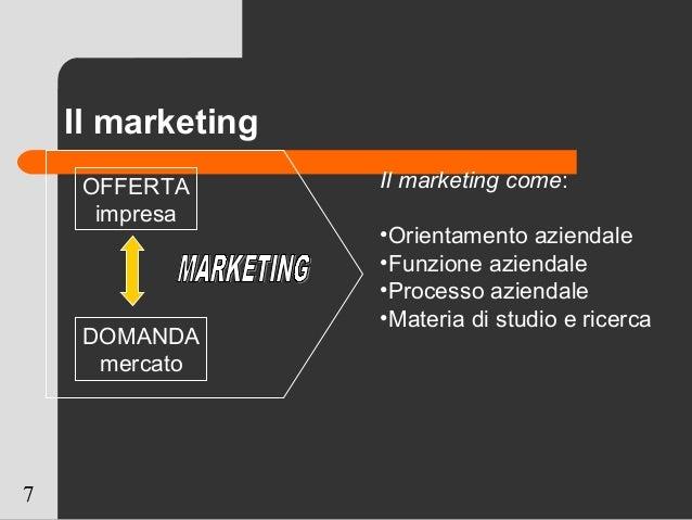 7 Il marketing OFFERTA impresa DOMANDA mercato Il marketing come: •Orientamento aziendale •Funzione aziendale •Processo az...