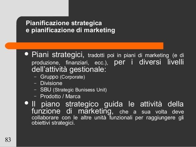 83 Pianificazione strategica e pianificazione di marketing  Piani strategici, tradotti poi in piani di marketing (e di pr...