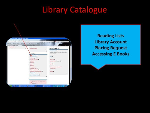 Library Catalogue                Reading Lists              Library Account              Placing Request             Acces...