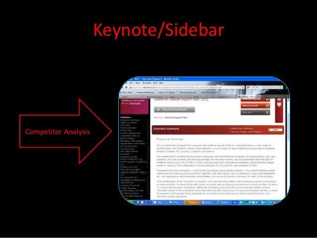 Keynote/SidebarCompetitor Analysis