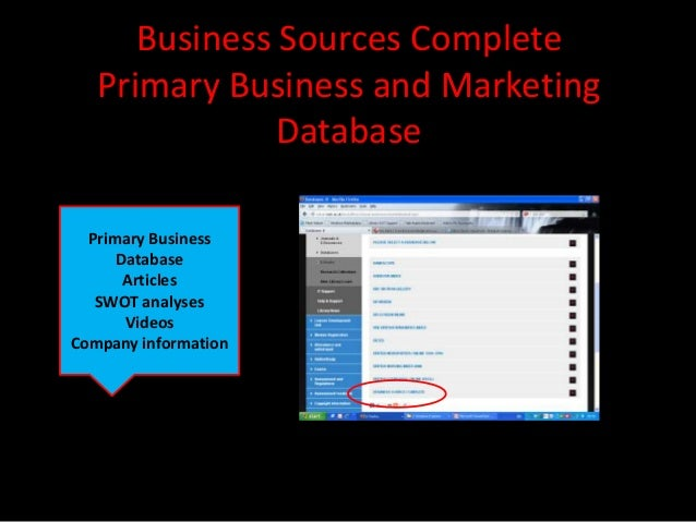 Business Sources Complete   Primary Business and Marketing               Database  Primary Business      Database       Ar...