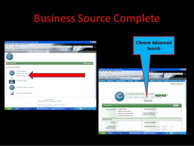 Business Source Complete                   Choose Advanced                       Search
