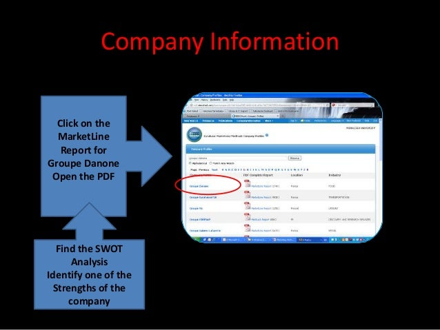 Company Information  Click on the  MarketLine   Report forGroupe Danone Open the PDF  Find the SWOT     AnalysisIdentify o...