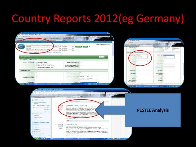 Country Reports 2012(eg Germany)                       PESTLE Analysis