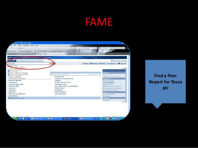 FAME         Find a Peer       Report for Tesco             plc