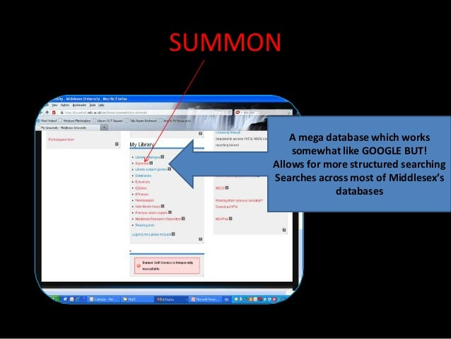 SUMMON         A mega database which works         somewhat like GOOGLE BUT!     Allows for more structured searching     ...