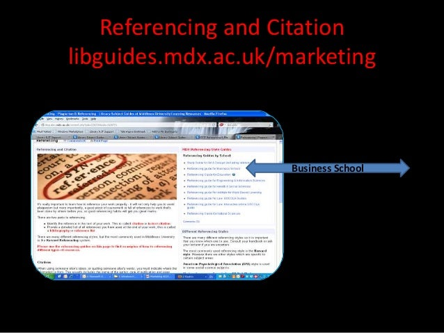 Referencing and Citationlibguides.mdx.ac.uk/marketing                     Business School