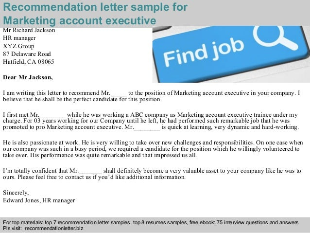 marketing account executive recommendation letter