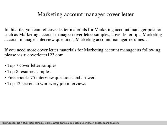 Superb Marketing Account Manager Cover Letter In This File, You Can Ref Cover  Letter Materials For Cover Letter Sample ...