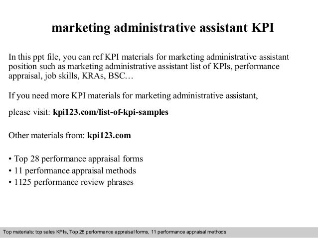 marketing administrative assistant kpi in this ppt file you can ref kpi materials for marketing