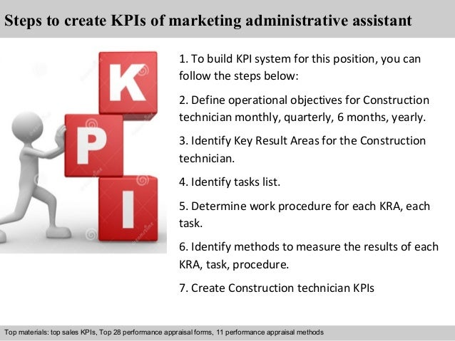 2 steps to create kpis of marketing administrative assistant
