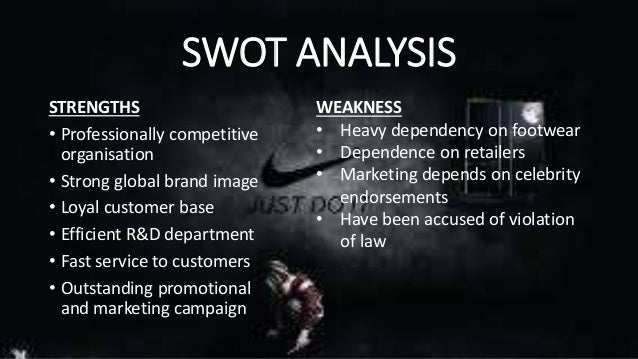 swot of nike Nike is a global brand that is synonymous with quality and excellence this  article analyses the company using the swot methodology the key theme in  this.