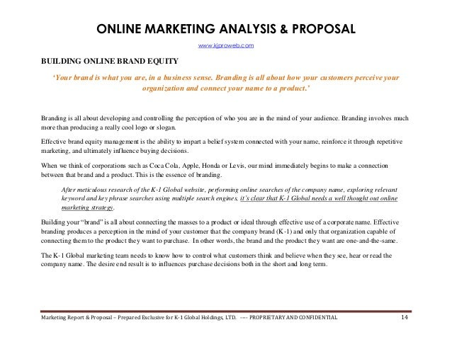 Internet Marketing Proposal & SEO/Search Engine Rank Report