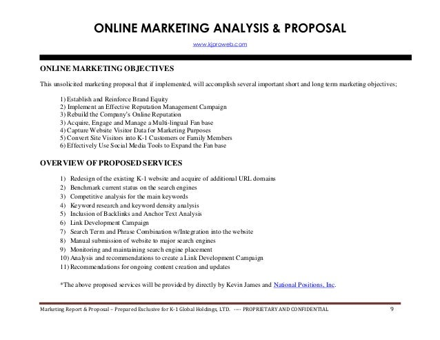 Internet Marketing Proposal & SEO/Search Engine Rank Report