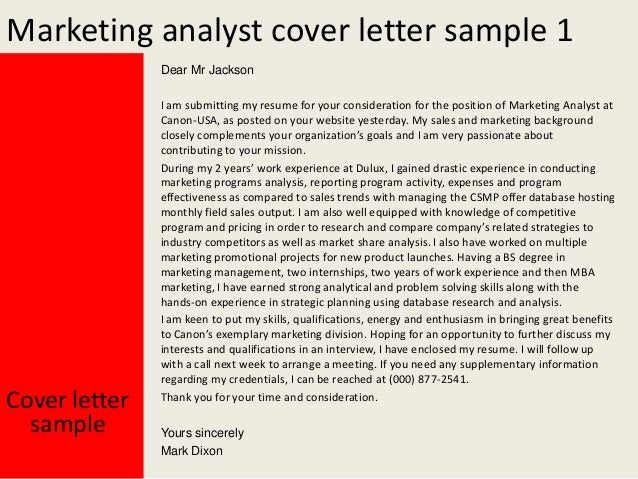 Captivating Marketing Analyst Cover Letters