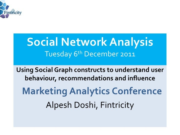 Social Network Analysis         Tuesday 6th December 2011Using Social Graph constructs to understand user  behaviour, reco...