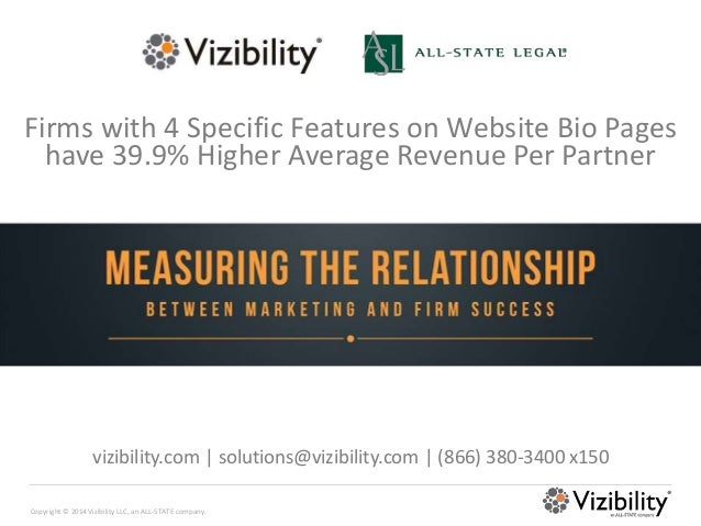 Copyright © 2014 Vizibility LLC, an ALL-STATE company. Firms with 4 Specific Features on Website Bio Pages have 39.9% High...