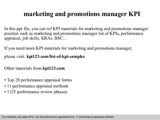 Marketing And Promotions Manager Kpi