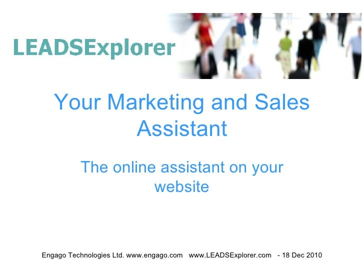 Your Marketing and Sales Assistant The online assistant on your website