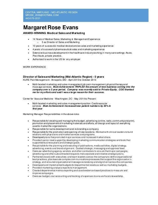 CENTRAL MARYLAND / MID-ATLANTIC REGION MROSE_2000@HOTMAIL.COM 443-570-2221 Margaret Rose Evans AWARD-WINNING Medical Sales...