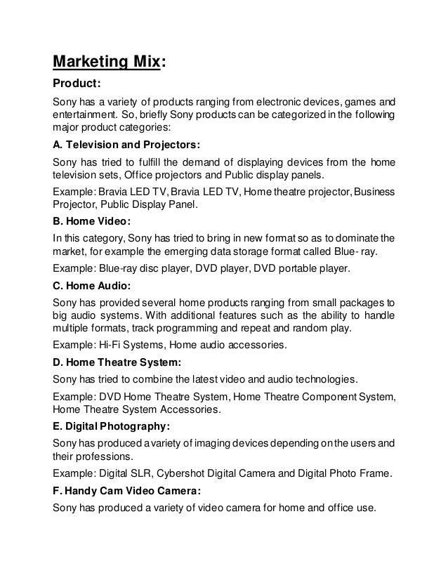Sony Marketing Mix