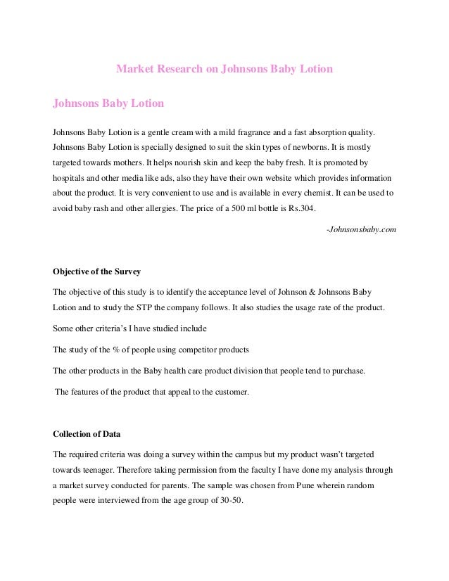 Market Research On Johnson Baby Lotion - Healthcare privacy policy template